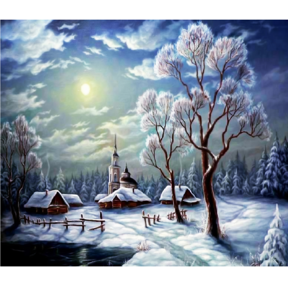 Pictures for living room Full Drill Snow Scene 5D Diamond DIY Painting Craft Home Decor Rhinestone canvas DIY paiting cuadros