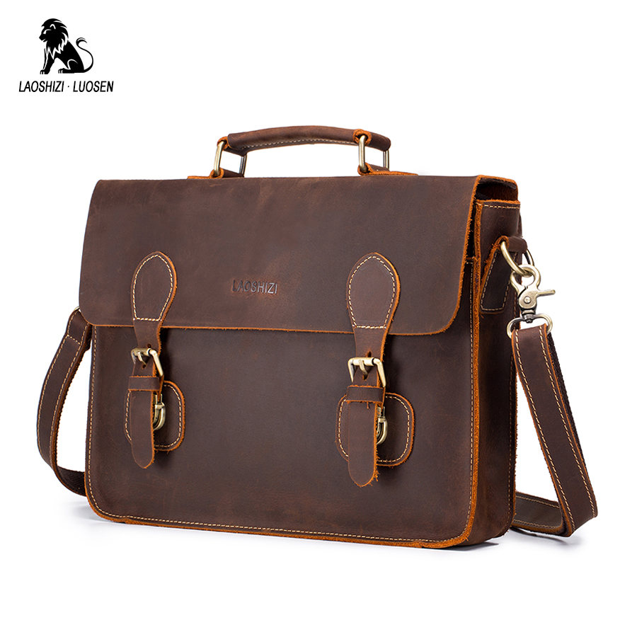 LAOSHIZI LUOSEN Men's Vintage Crazy Horse Leather Briefcase Messenger Shoulder Portfolio Laptop Bag Case Office Handbag