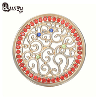 Qusfy Womens Coin Pendant for Holder Necklace Crystal Round Pendant Vine Shaped Red Stone Coin Replaceable Pendants NC