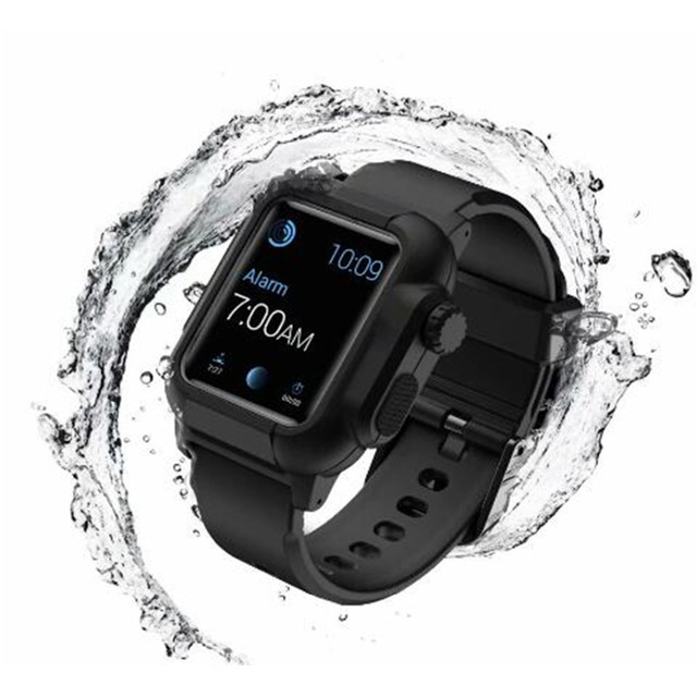 brand new bc587 c98d1 US $12.42 10% OFF|Waterproof Case Strap for Apple Watch Band Series 2/3  42mm Swimming Surfing Silicone Watch Strap with Case-in Watchbands from ...
