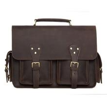 ROCKCOW Handcrafted Rustic Leather Briefcase, Messenger Bag, Laptop Bag, Men's Handbag 7145
