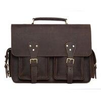 ROCKCOW Handcrafted Rustic Leather Briefcase Messenger Bag Laptop Bag Men S Handbag 7145