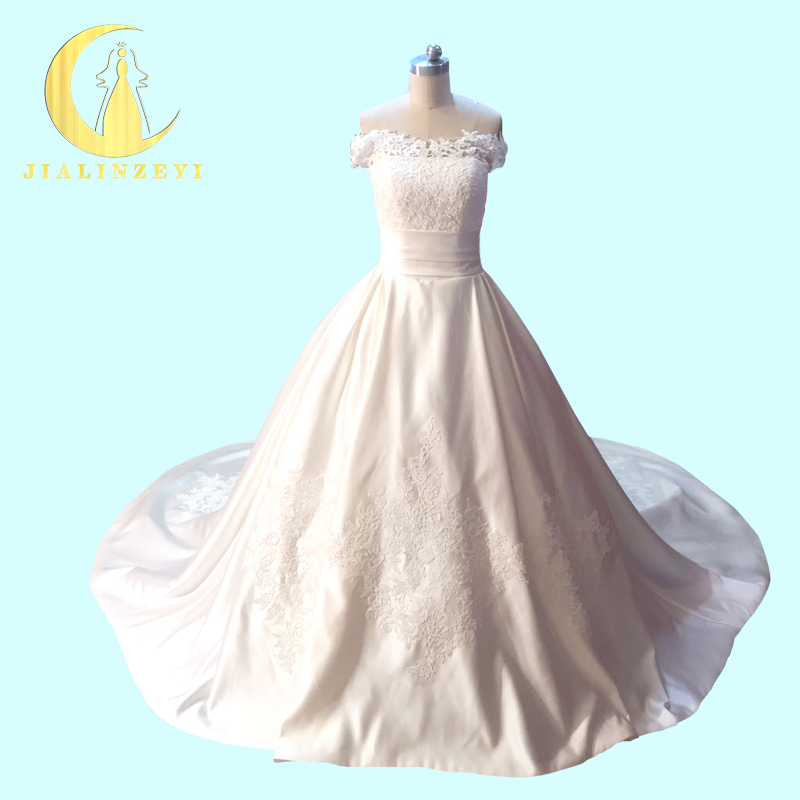 Rhine Real Sample Image Pictures Boat Neck Top Lace With Cash High Satin Long Train church Wedding Gown wedding dresses
