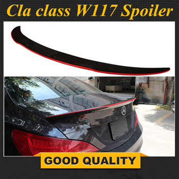 For Mercedes CLA W117 AMG Carbon Spoiler FD Style CLA Class C117 Carbon Fiber Rear Spoiler with red line Rear Trunk Wing 2013-UP