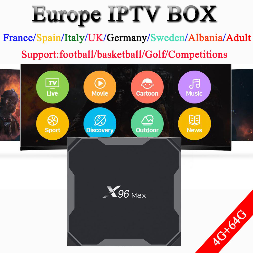 X96 MAX android TV box 8 1 9100 live 11000 vod 1 year French Spain Portugal
