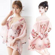 2019 New Hot Japan Style Sex Women Kimono 1 set Exotic Costumes Sakura Muti colors Mujer Pajama One size Sexy Shot Robe NY0268