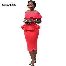 Robe De Soiree Courte, красное платье в африканском стиле, женское платье для свадебной вечеринки, длина для чая, с открытыми плечами, для жениха, платья для мам CM0193