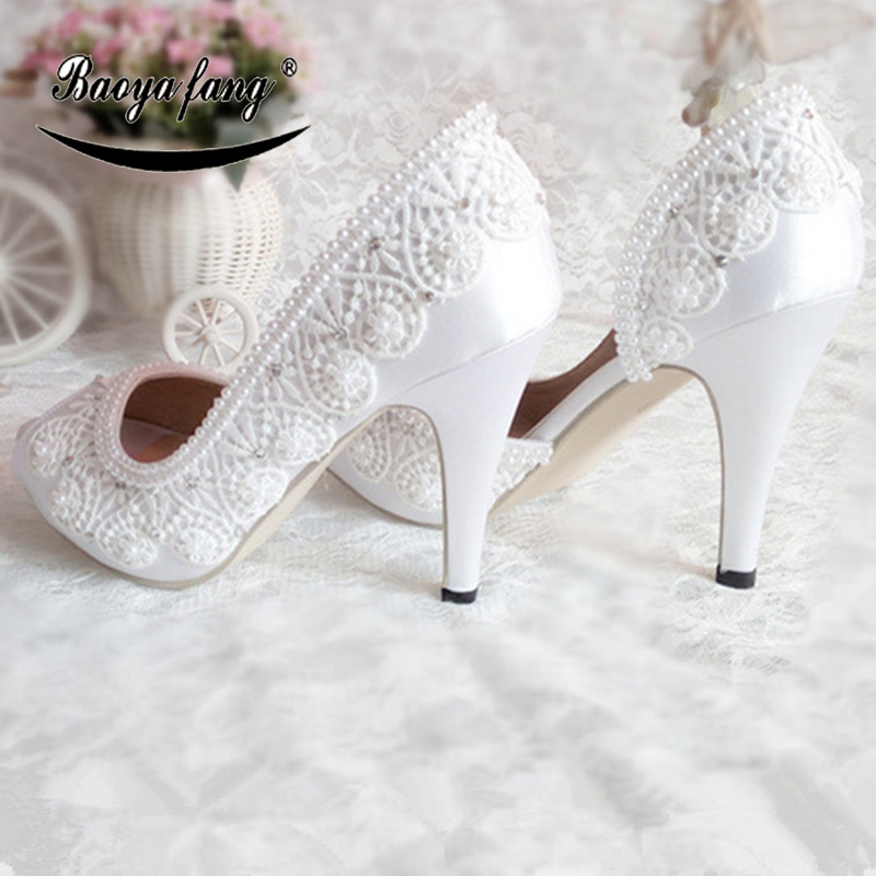 New White Lace-up Womens wedding shoes ankle strap Lace shoes for woman BaoYaFang fashion shoes Bride dress shoe