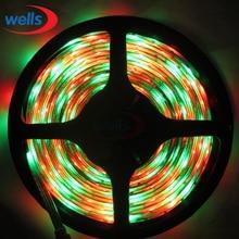 5M 3528 SMD 60 LEDs/M Flash Multi Color RGB LED Waterproof Strip Light 12V