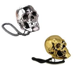 1 sztuk unikalne fajne czaszki głowy szkielet w kształcie Led migające oczy przewodowe Land Line biurko do pracy w domu telefon tabeli dekoracji Adaptery AC/DC    -