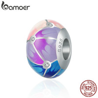 BAMOER Authentic 100 925 Sterling Silver Colorful Enamel Round Charm Beads Fit Girl Charm Bracelet Bangle