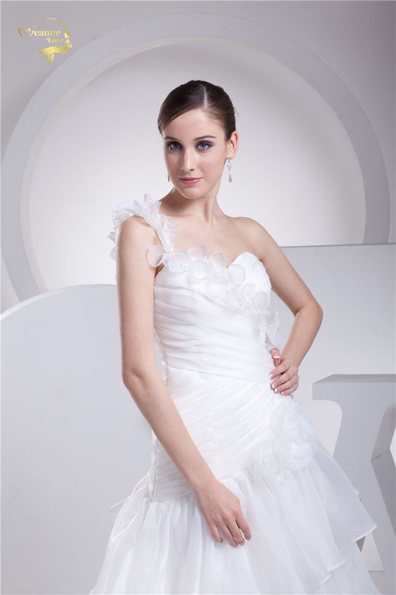 Jeanne Love New Arrival Wedding Dresses 2019 Organza A Line One Shoulder Tiered Robe De Mariage Vestido De Novia JLOV75927 in Wedding Dresses from Weddings Events
