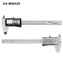 AI-ROAD Stainless Steel 150mm Digital Caliper IP54 Coolant Proof Digital Caliper Full Screen LCD Display Measuring Tools