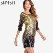 Saimishi Size S-2XL All Over Sequins Bodycon Dress Summer Fashion Scooped Back  Three Quarter b87046ff5ab8