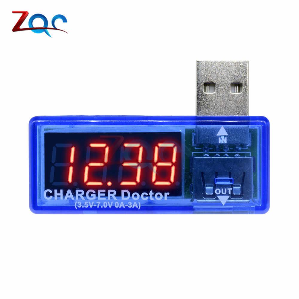 Naisicatar USB Detector Mult/ímetro Digital Medidor De Potencia Probador Actual Monitor De Voltaje De La Bater/ía con La Exhibici/ón De Led para El Banco De La Energ/ía Y M/ás