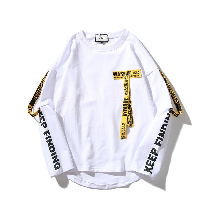 Women T-shirt Unisex 3d Shirt Printing Letter Ribbon Harajuku Cotton Oversized Long Sleeve Punk T Shirt O-neck Casual Tops Tees
