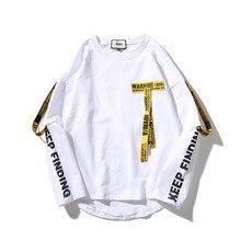 купить Women T-shirt Unisex 3d Shirt Printing Letter Ribbon Harajuku Cotton Oversized Long Sleeve Punk T Shirt O-neck Casual Tops Tees дешево