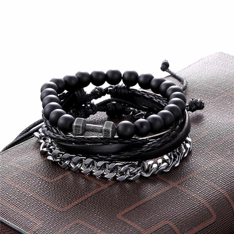 1 Set 3PCS Leather Gold Anchor Beaded Bracelet Women Stainless Steel Link Chain Charm Men's Couple Bracelets Dropshipping homme