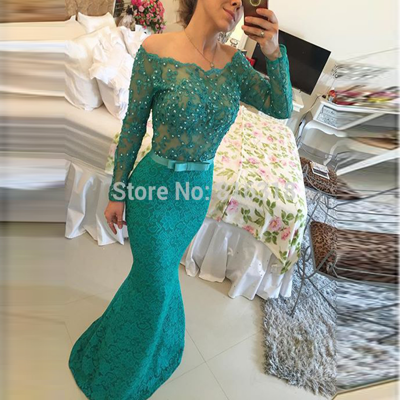 Aliexpress.com : Buy Off The Shoulder Long sleeve Prom Dresses ...