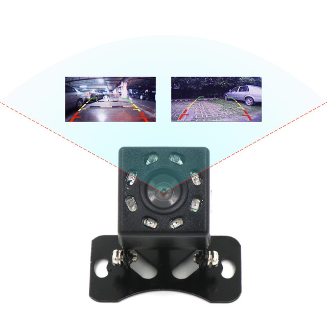 Olysine 8 LED IR Night Vision Back Camera Waterproof Backup Parking Camera  Universal Wide Angle Rearview Car Rear View Camera