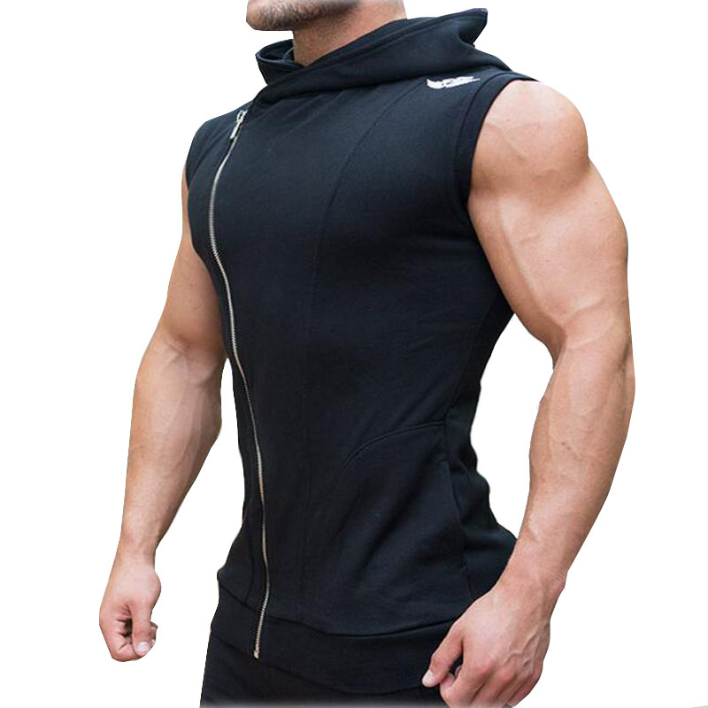Men Sport Fitness Bodybuilding Gym T Shirt Leeveless Sporting Basketball Training Fitness Clothing Zipper Vest M-010