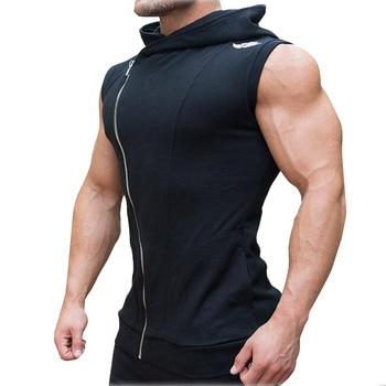 Men sport fitness bodybuilding gym t shirt leeveless sporting Basketball Training Fitness Clothing Zipper vest M-010 Sports & Outdoors