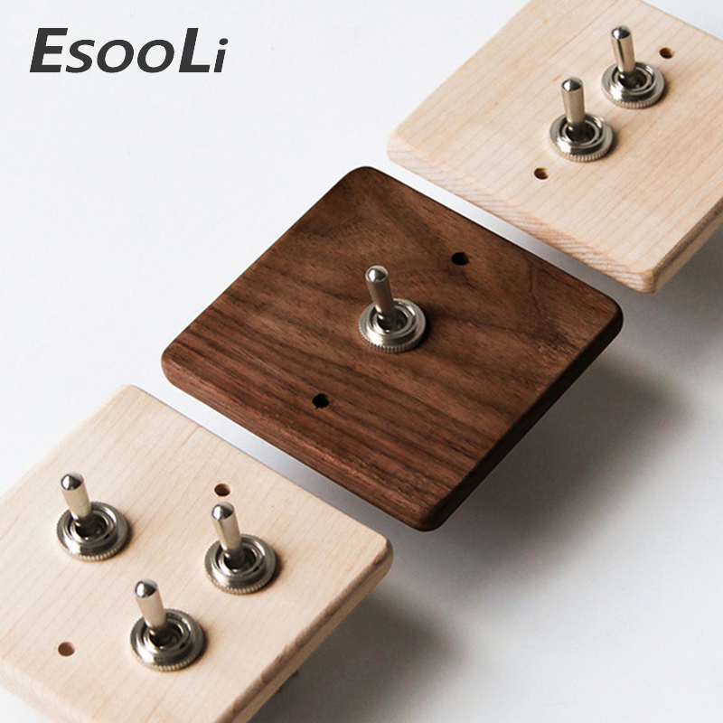 EsooLi Maple/Walnut Luxury Wall Light Switch Panel Hand Made Retro Switch 10A 110V-250V Wood Panel Brass Lever 1 GANG/ 2 GANG