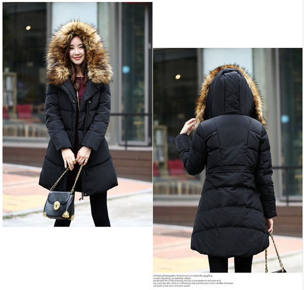 New winter 2014 large fur collar korean hooded long down jacket women solid thick slim coats plus size 6XL zipper parkas E280 winter feather cotton women outwear long section thick section slim hooded coats large fur collar large size down jacket lx165