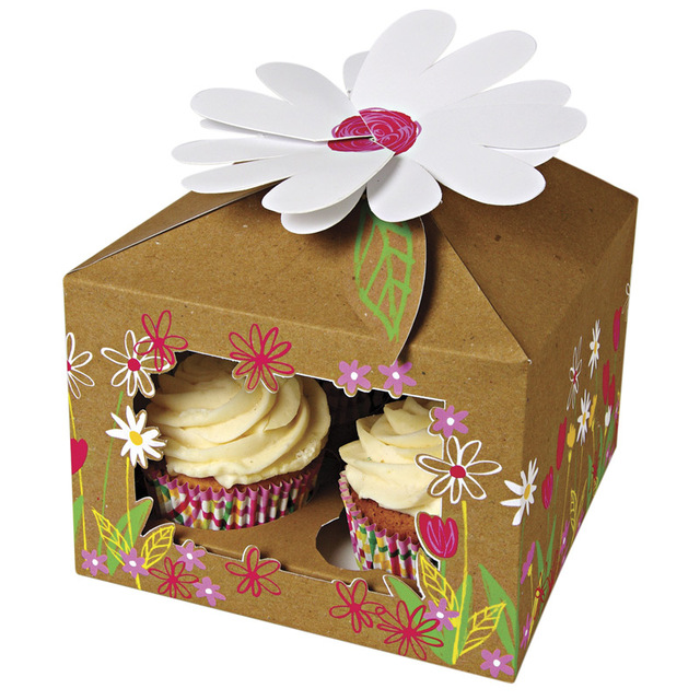 40x Cupcake Boxes Patisserie House Clear Window Mother's Day Baby Best Decorative Cupcake Boxes