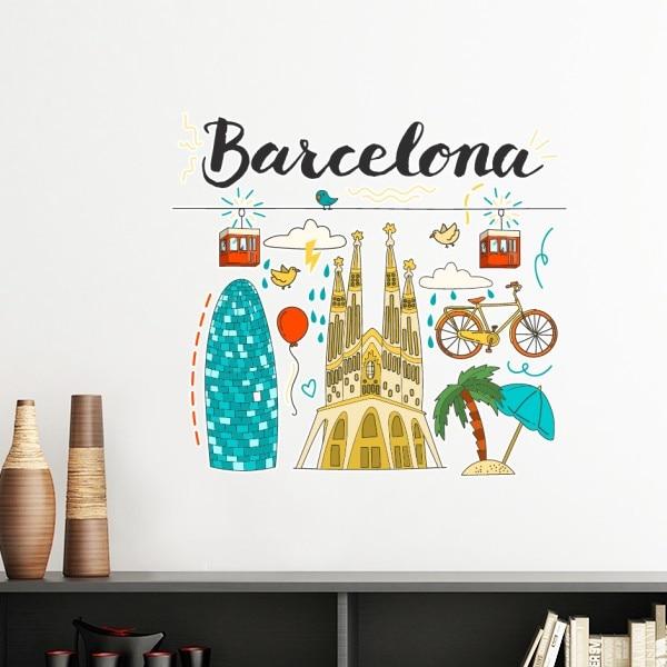 Barcelona Spanish Sagrada Familia Removable Wall Sticker Art Decals Mural DIY Wallpaper  ...