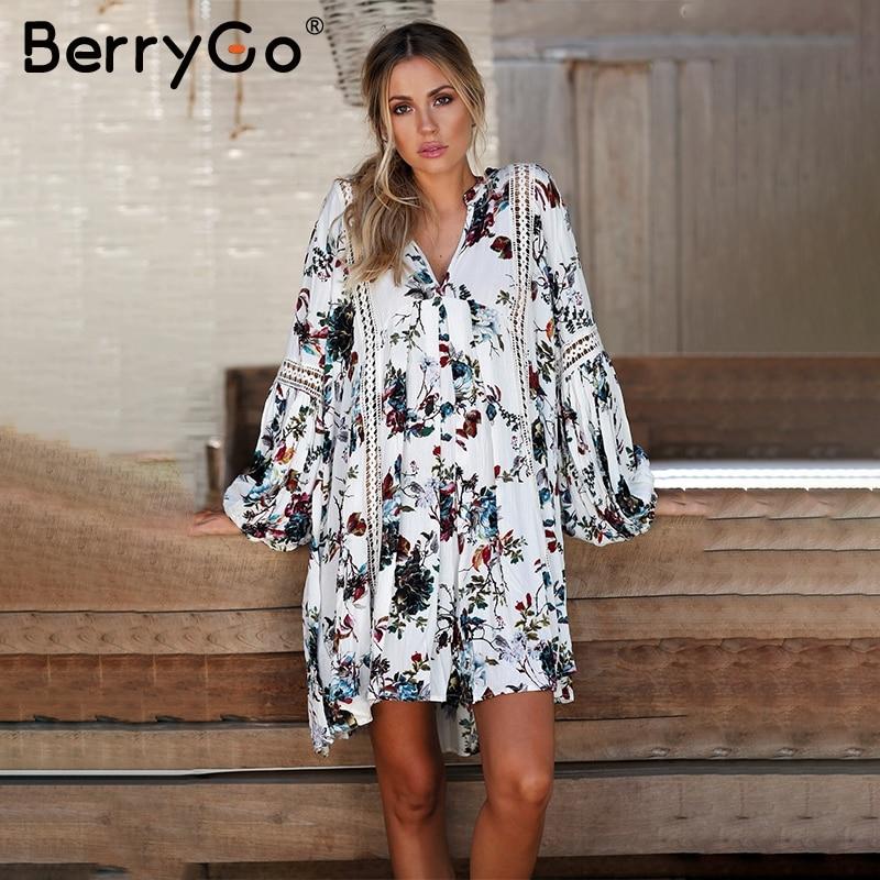 BerryGo Hollow out boho summer dress Women vintage loose lace lantern sleeve short dress Ruffle flower print sexy dress vestidos 4