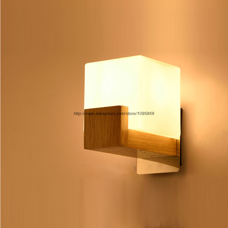 ?Free Shipping Modern Square ? Wood Wood Wall Sconces Fixtures Lights ? Bedroom Bedroom Glass ...