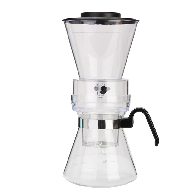 600ml Durable Black Cover Plastic PPS Contemporary Design Cold Drip Dutch Coffee Maker 1 4 Cups