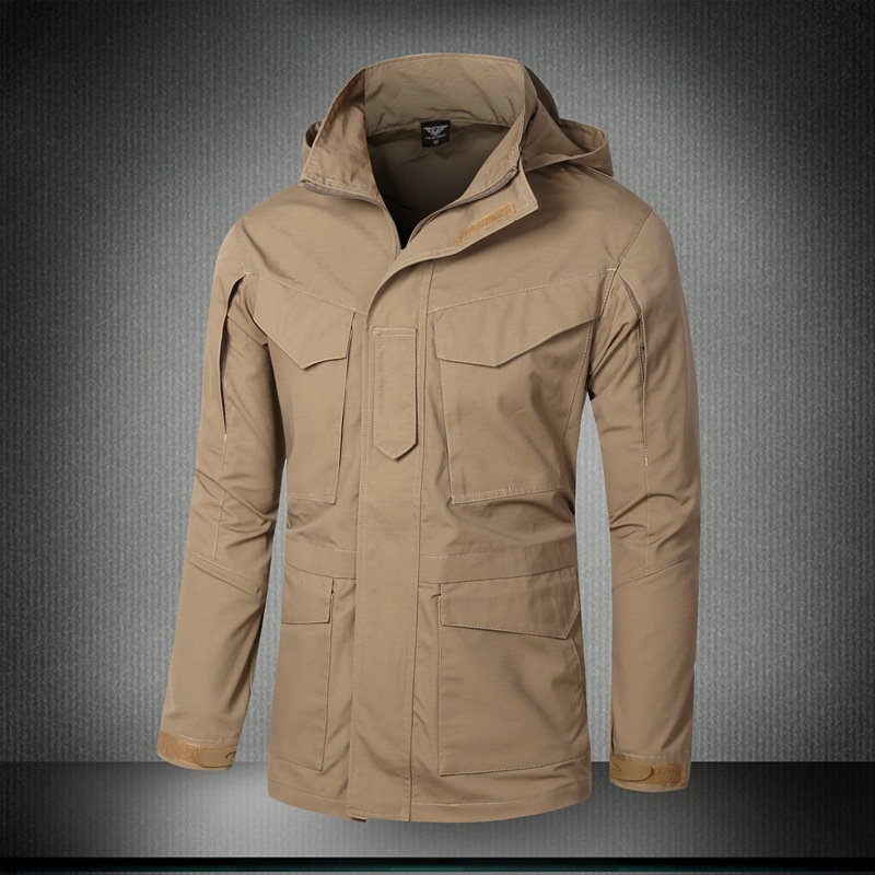 LANBAOSI Outdoor Sports Men's Hunting Trench Army Tactical Self-cultivation Long Trench Coat Military Men Dust Trenches denim self tie waist long sleeves hooded trench coat