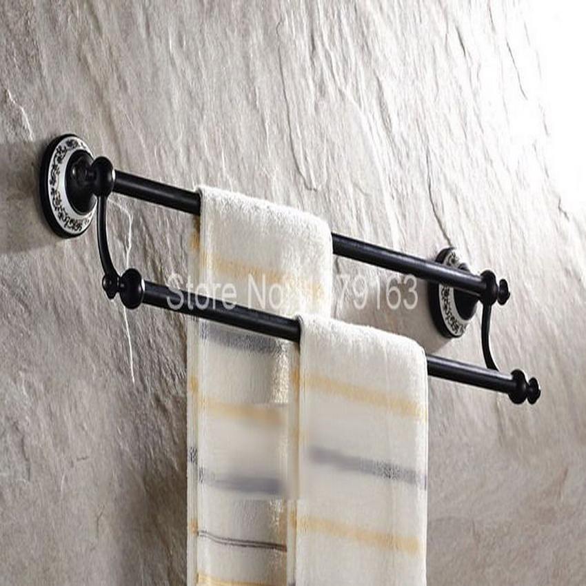 Black Oil Rubbed Antique Brass Ceramic Base Wall Mounted Bathroom Double Towel Rail Holder Rack Bar aba060 allen roth brinkley handsome oil rubbed bronze metal toothbrush holder