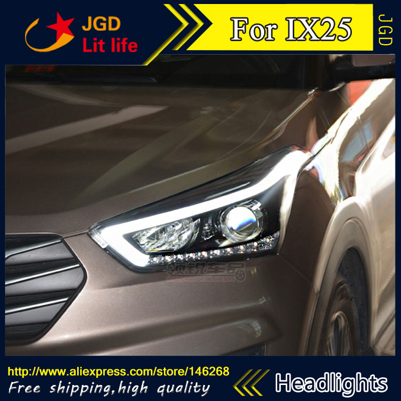 Free shipping ! Car styling LED HID Rio LED headlights Head Lamp case for Hyundai IX25 Bi-Xenon Lens low beam auto part style led head lamp for porsche 997 series led headlights for 997 drl h7 hid bi xenon lens angel eye low beam