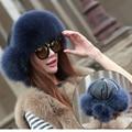 Rusia mujer warm fox sombrero de piel de moda de invierno sombrero de piel de mapache y piel de fox con orejeras para mujeres grueso natural bombardero sombreros cap h #45