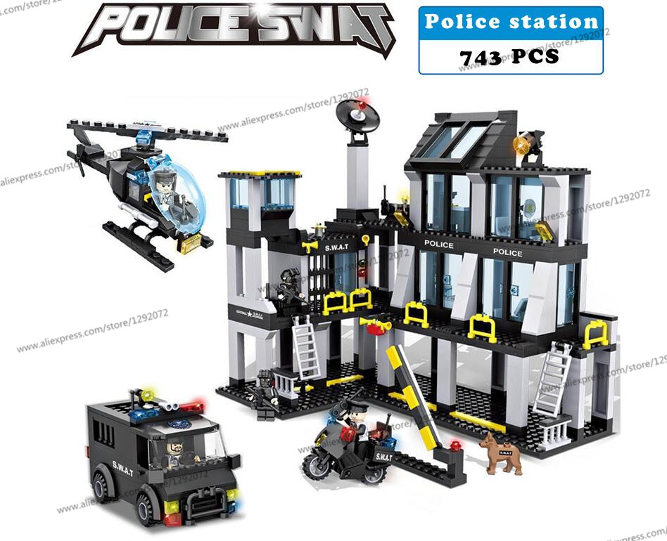 Police station SWAT Armored car jeep Military Series6512 3D Model building blocks compatible with lego city Boy Toy hobbies Gift gonlei hsanhe 6512 police station swat hotel de police doll military series 3d model building blocks city boy toy hobbies gift