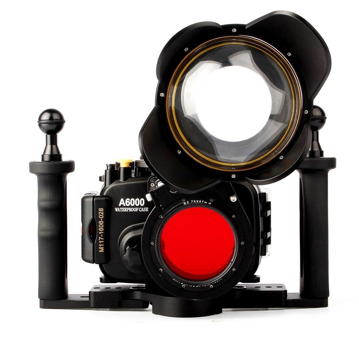 Boîtier étanche pour appareil photo sous-marin pour Sony A6000 w/objectif 16-50mm + Port dôme Fisheye + poignée à deux mains + filtre rouge