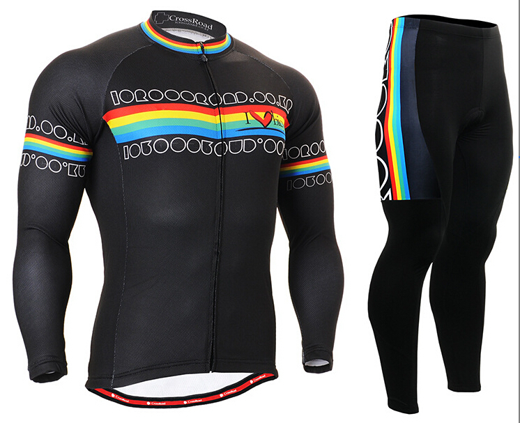 Mens Cycling Jerseys Sets Bike/Bicycle Gel Pad Clothing Rainbow Stripe 2017 Brand New Sports wear Ropa Ciclismo new brand phantom bike bicycle cycling jerseys short set sports t shirts gel padded tights for men