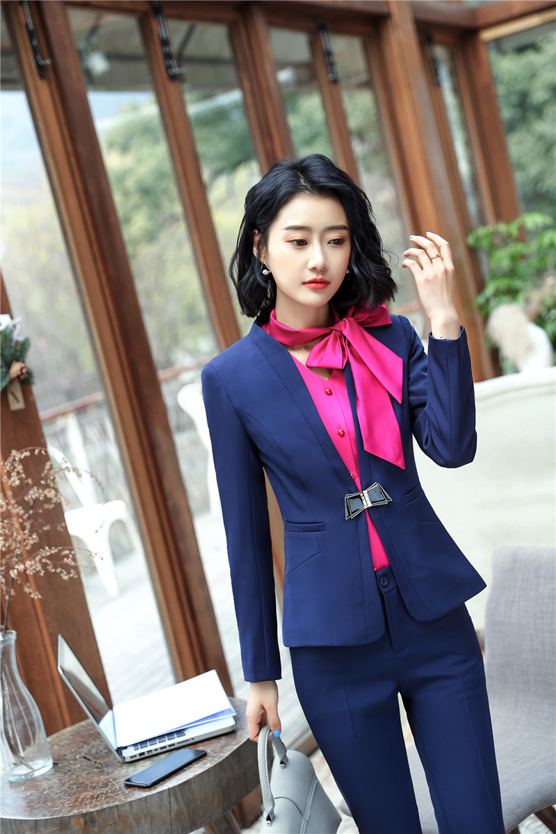 Navy Blue Fashion Spring Fall Uniform Designs Blazers Suits Ladies Pantsuits With Jackets And Pants For Ladies Office Work Sets