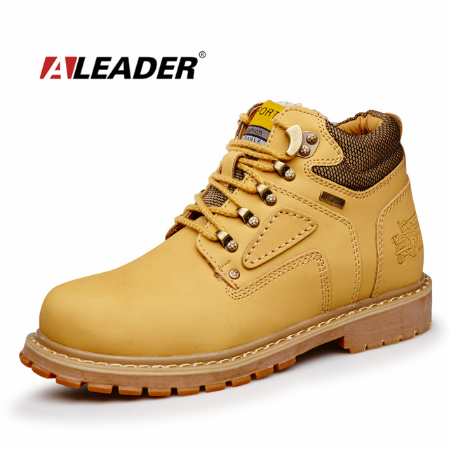 Oil resistance Mens Work Boots Leather Safety Shoes 2017