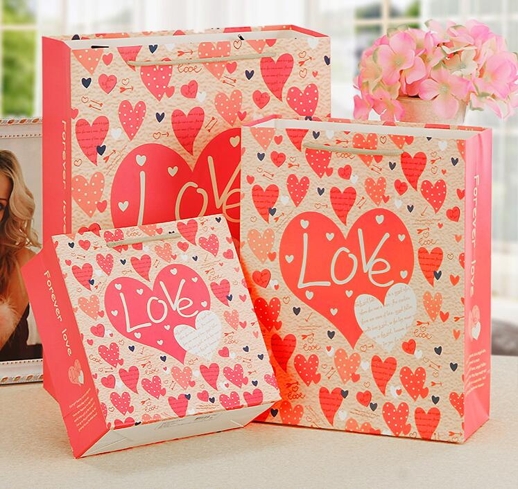 14*7*15cm 10pcs pink Love printed Paper Gift Bags Wedding Party Handled Bags Pack /paper shopping Festival gift bags-in Gift Bags & Wrapping Supplies from ...