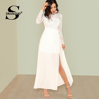 Sheinside Elegant Floral Lace Mesh White Dress Women 2019 Solid Pleated Panel Maxi Dresses High Waist Side on Split A Line Dress