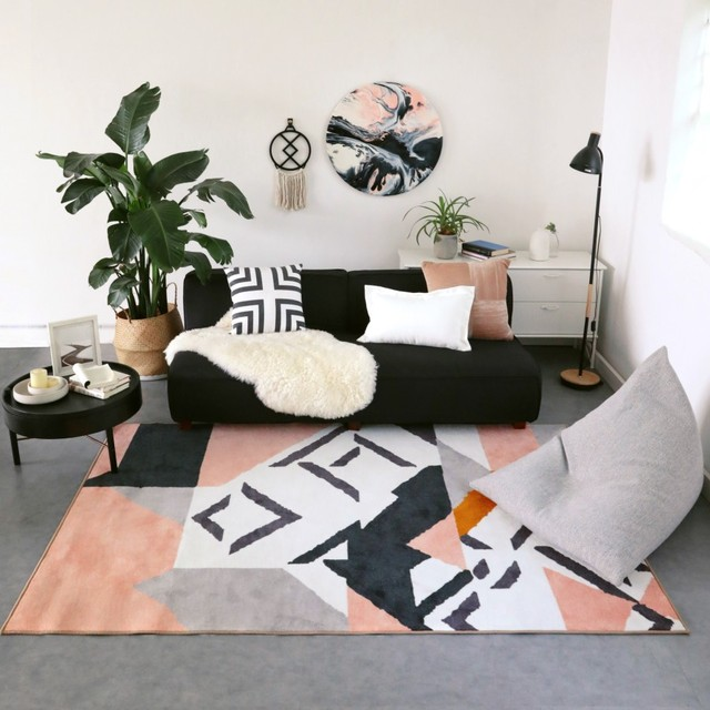 Black White Pink Bohemia Nordic Living Room Carpet Geometric Indian Morocco Rug Plaid Striped Kitchen Bedside