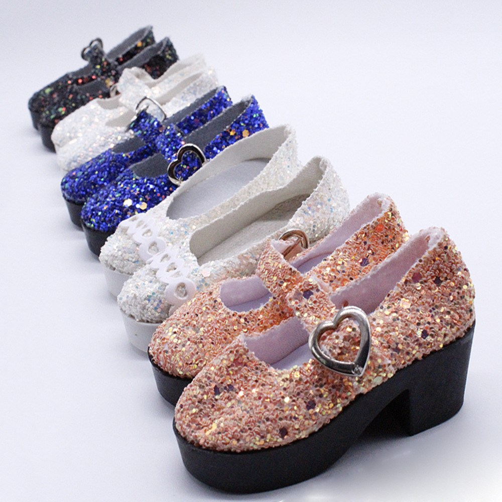 1pcs 4kinds PU sequins shoes High quality Fit for 60cm 18inch 1 3dolls Doll accessories Fashion girls BJD dolls Reloading shoes in Dolls Accessories from Toys Hobbies