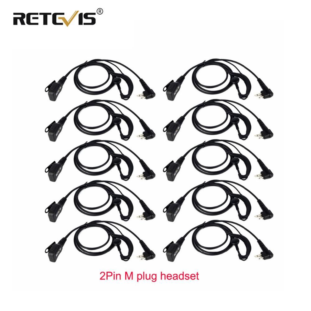 10pcs Volume Adjustable Earpiece PTT Mic Retevis Headset For Motorola GP68 CP88 CT150 P080 PRO1150 Walkie Talkie For HYT TC-610