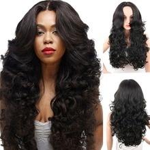 Deyngs Long Body hullámos szintetikus parókák a fekete nők számára 28Inch természetes fekete haj parókák Bangs Heat Resistant