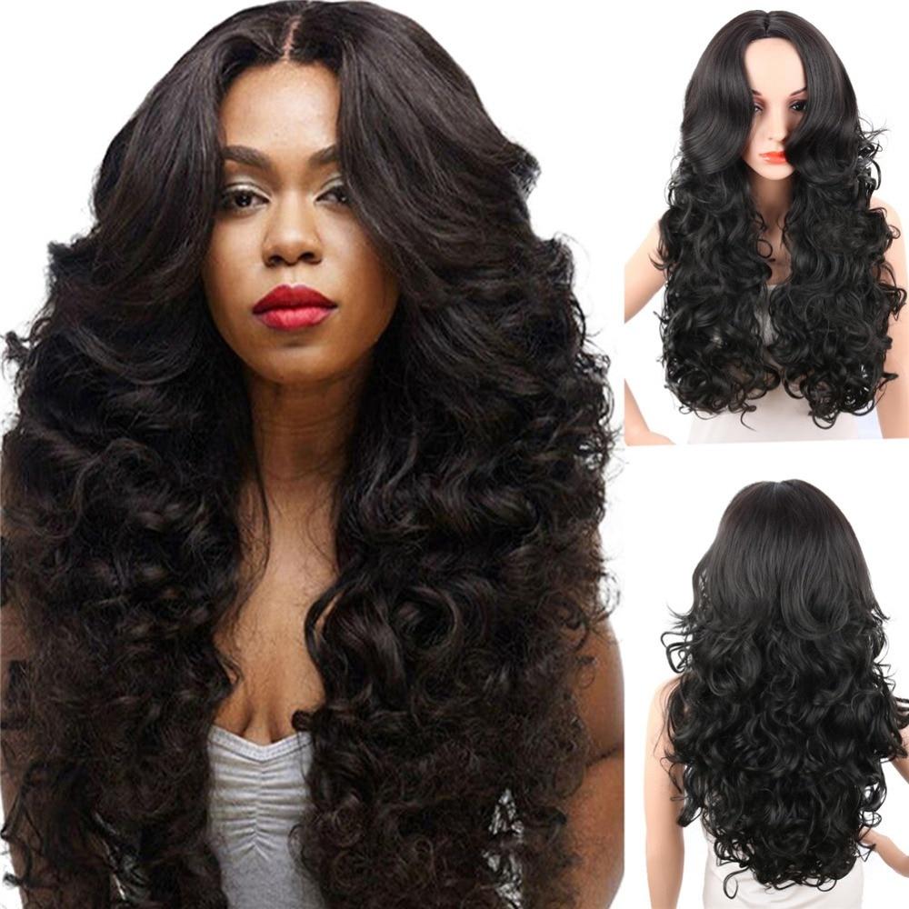 Deyngs Panjang Wig Sintetis Untuk Perempuan Kulit Hitam 28 Inch Bouncy Keriting  Alami Hitam Pirang 351dadfbe5