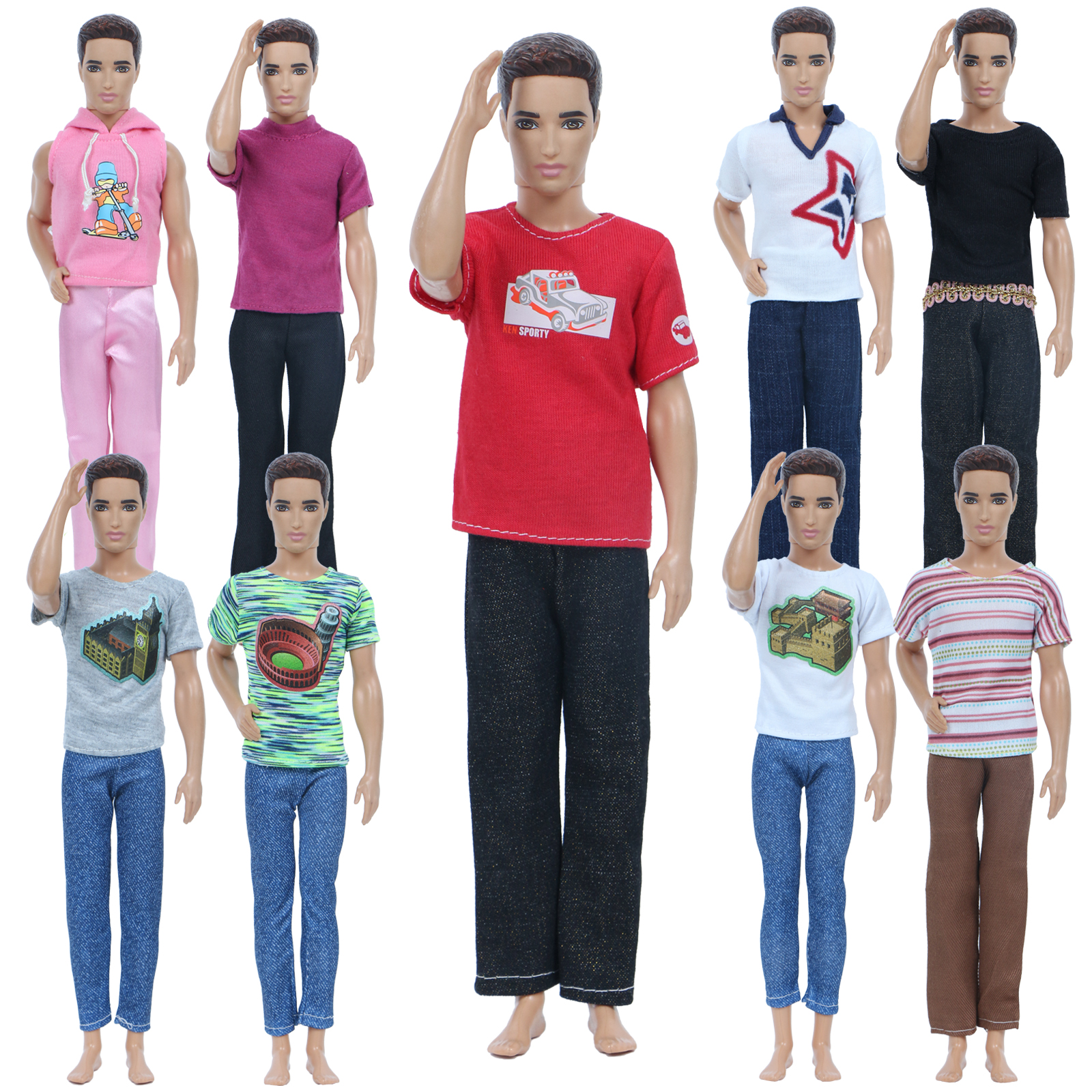 Set of 4 Ken Doll Outfits 2 Pair of Shorts /& 4 Striped Polo Shirts 6 Pcs for Ken